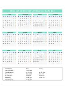 Boise School District Calendar 2020 pdf