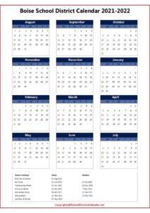 Boise School District Calendar 2021 pdf