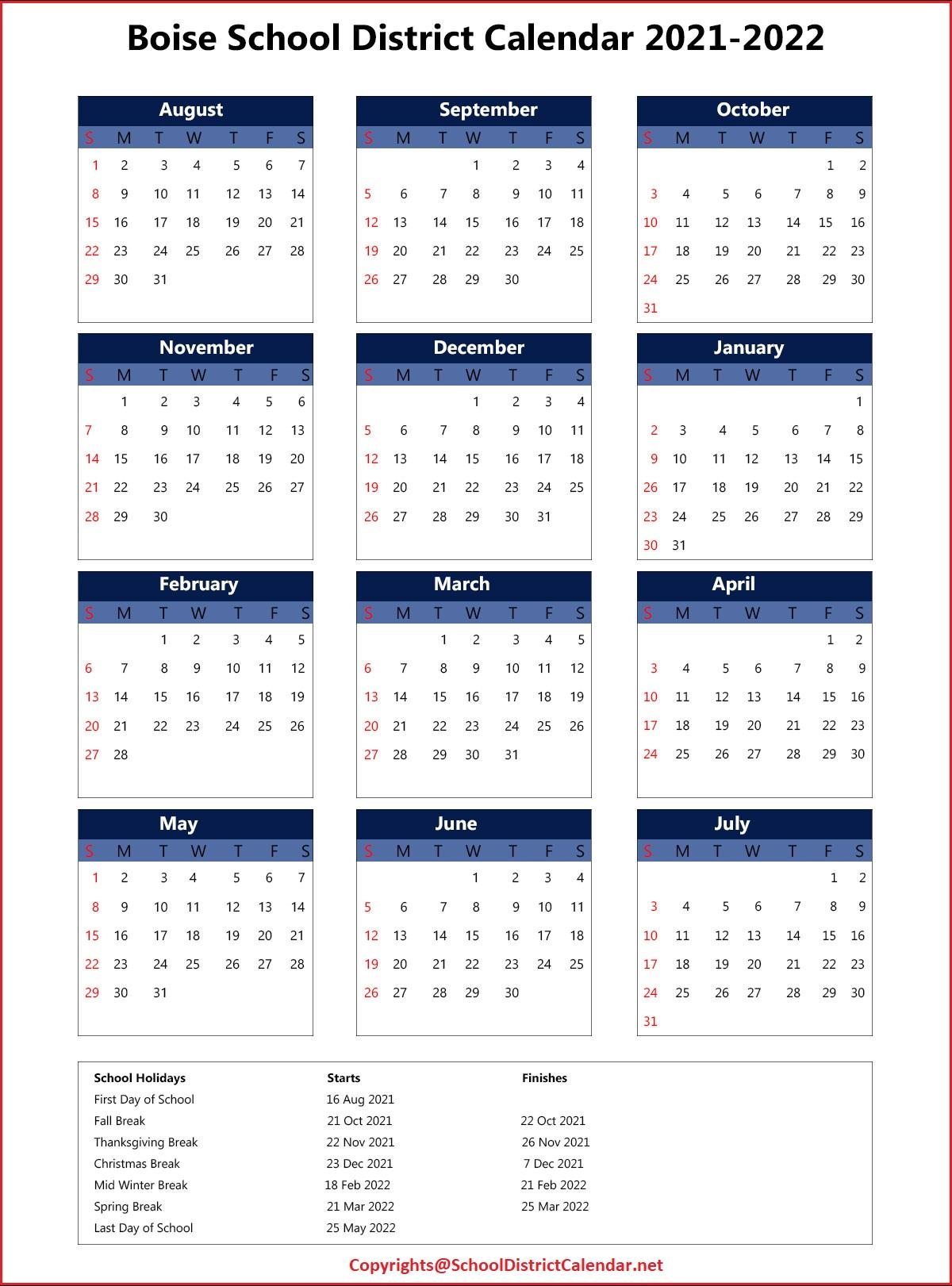 Boise School District Calendar 2021