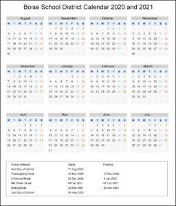 BoiseSchool District, Idaho Calendar Holidays 2020