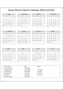 Boise School District Idaho Calendar Holidays 2020 pdf