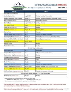 Tooele County School District Proposed Calendar 2021-2022