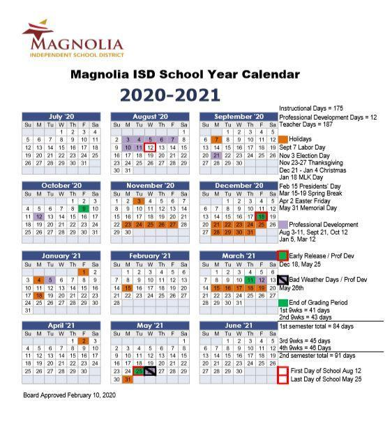 Magnolia School District Calendar 2021