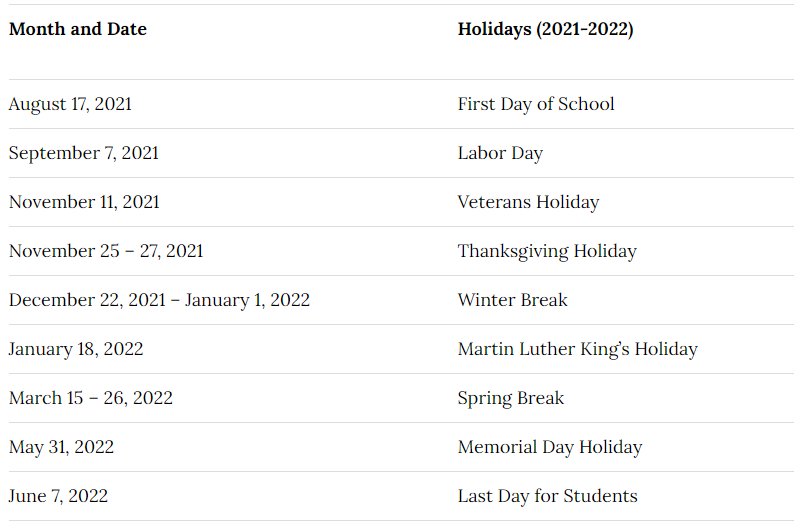 Orange County School District Calendar