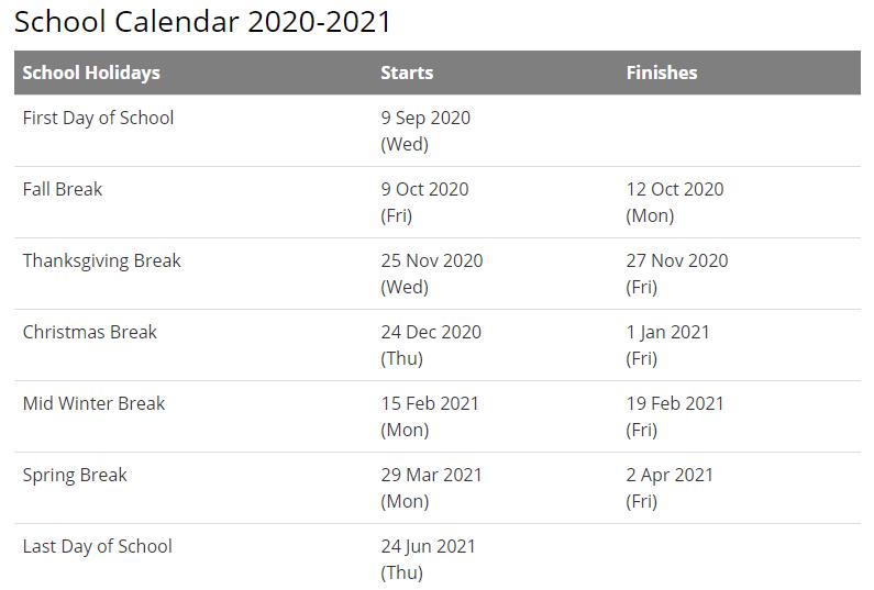 Rochester School District Calendar