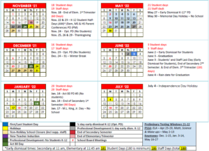 Wilson School District Calendar 2021 22