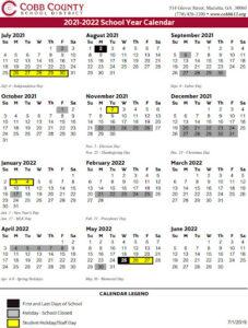 Cobb County School District Proposed Calendar 2021-2022