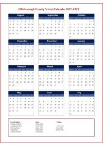 Hillsborough County School Holidays 2021 2022 pdf