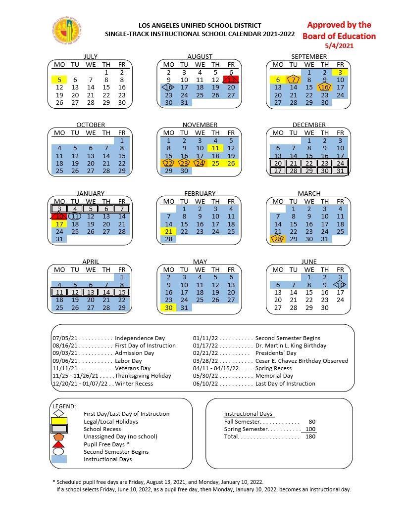 Los Angeles Unified School District, California Calendar Holidays 2021
