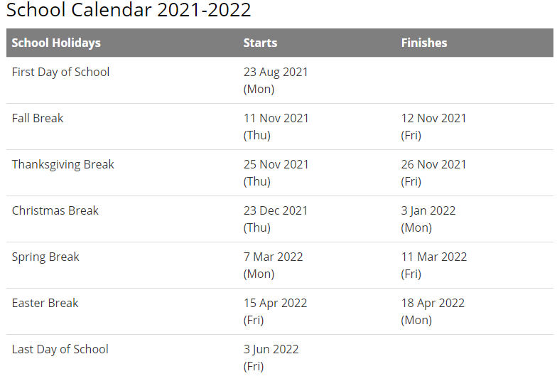 Mount Airy City Schools Calendar 2021 and 2022