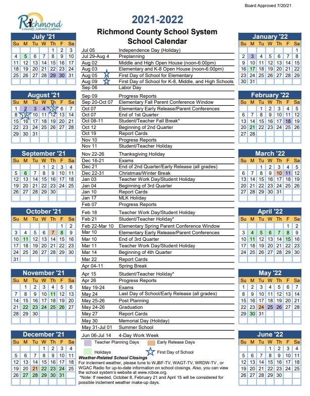 Richmond County Schools Calendar 2021-2022