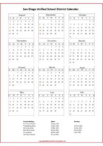 San Diego Unified School District Calendar pdf