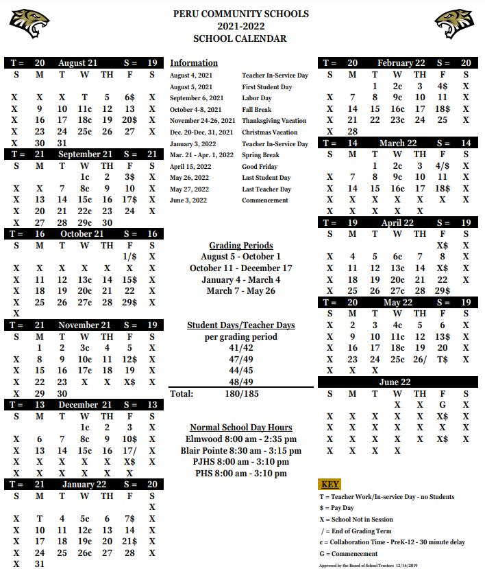 Peru Community Schools Calendar 2021-2022