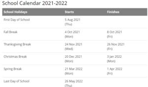 Peru Community Schools Calendar