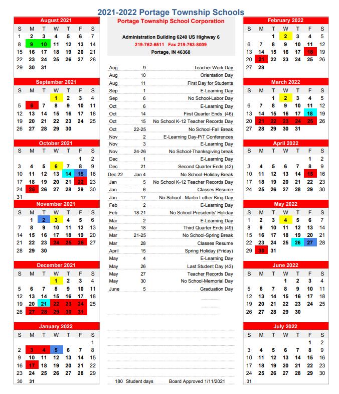 Portage Township School Calendar 2021-2022