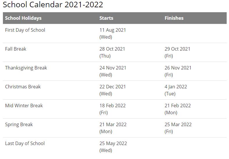 Union School Corporation Calendar