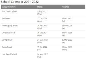 Washington Community Schools Calendar