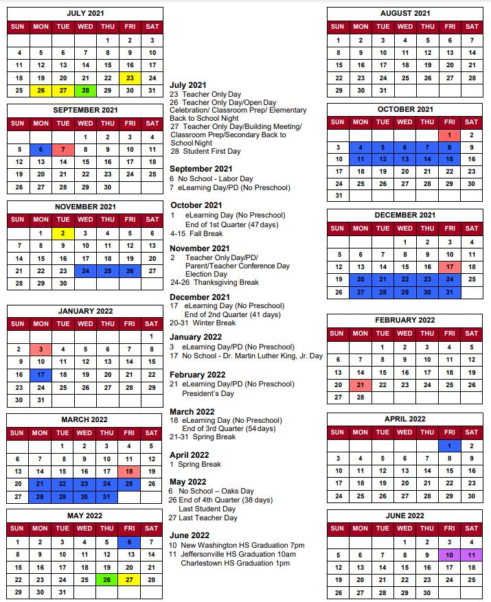 West Clark Community Schools Calendar